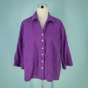 Orvis XL Purple Linen Boxy Button Top